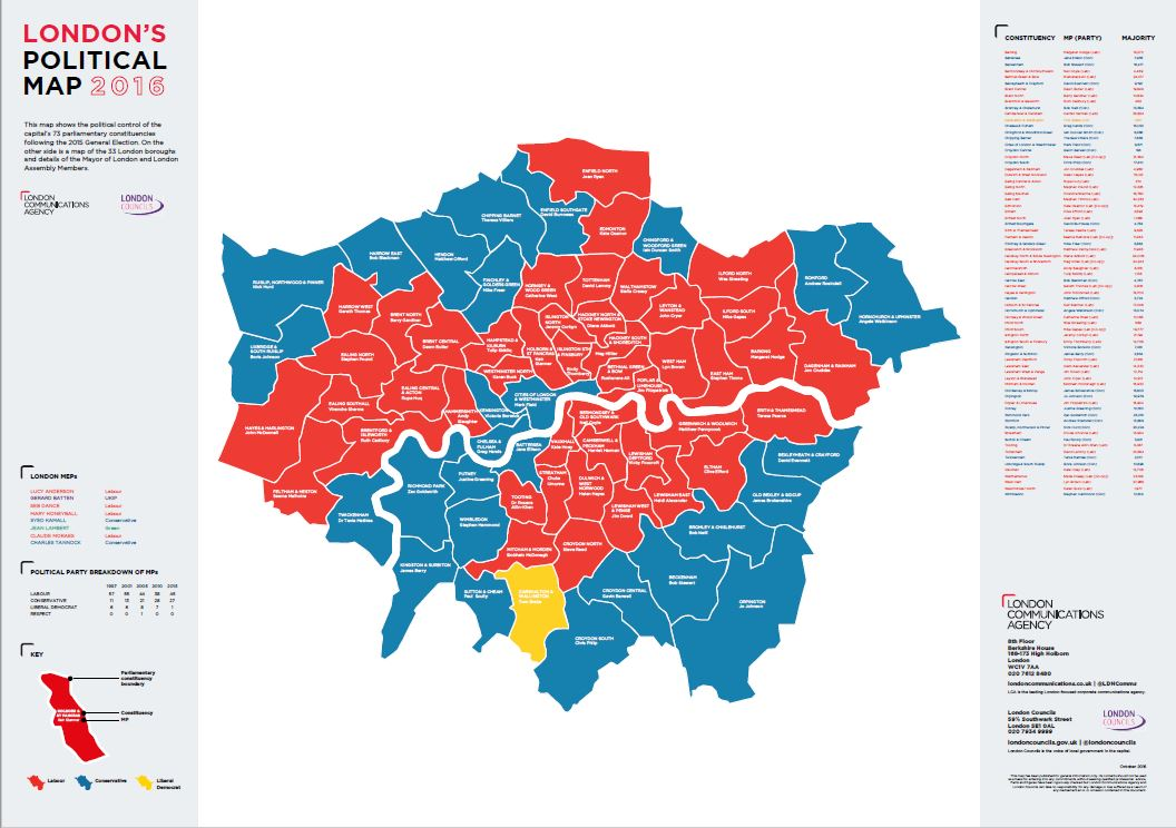 LCAs Latest Political Map of London released  Oct 2016  London